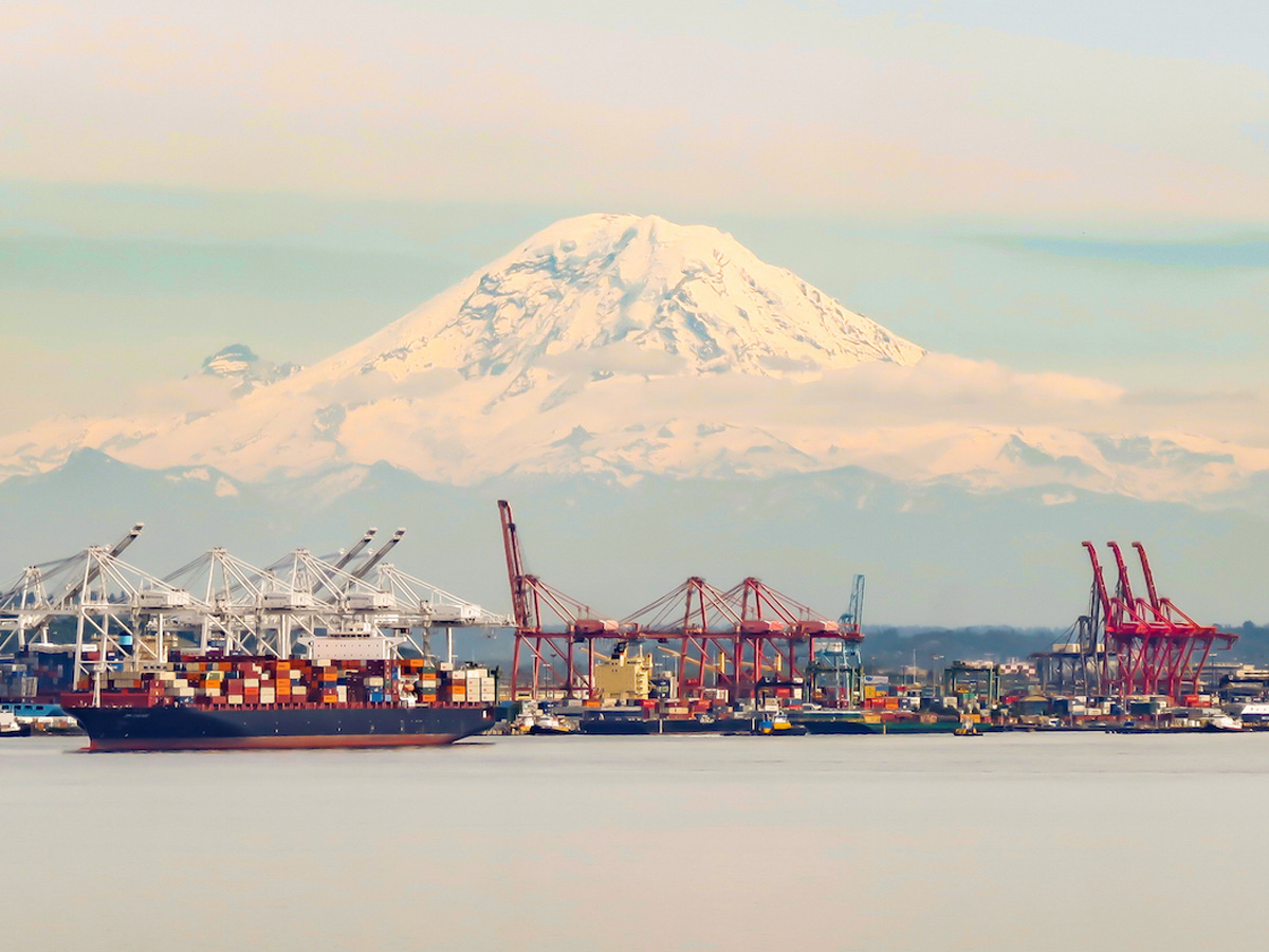 Seattle Port With Mt. Adams
