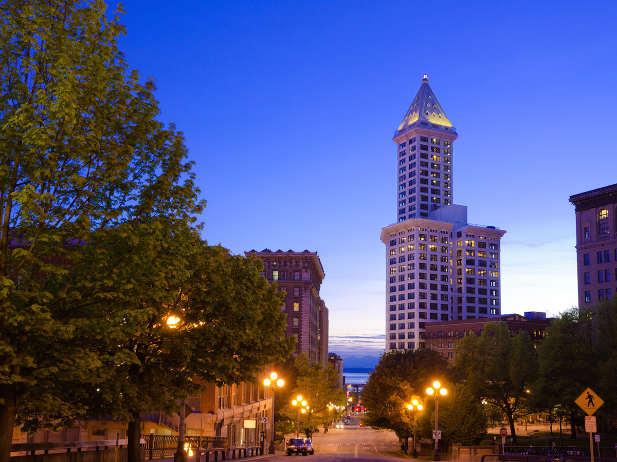Smith Tower at Pioneer Square in downtown Seattle at dusk