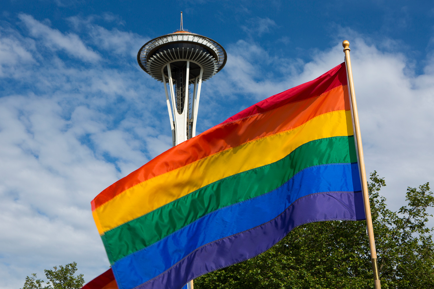 pride flag on the foreground with the Seattle space needle in the background